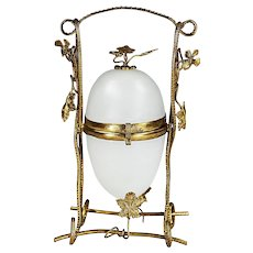 Antique French white opaline egg hinged Box in gilt bronze mounts Palais Royal