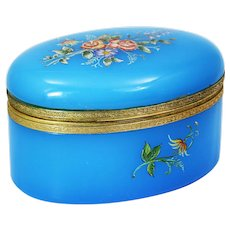 Blue opaline glass hinged trinket Box or jewelry casket