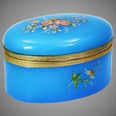 Blue opaline glass hinged trinket Box or jewelry casket