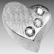 10K solid white gold heart pendant with diamonds