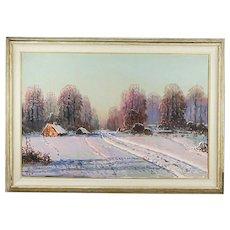 Vintage oil on canvas Winter Landscape painting by Polish artist Victor Korecki 1890-1980