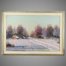 Vintage oil on canvas Winter Landscape painting by Polish artist Victor Korecki 1890-1980