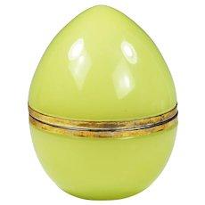 Italian green lemon opaline glass hinged egg Box