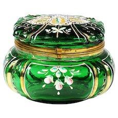Antique Victorian emerald green enamelled art glass trinket hinged BOX or powder