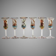 Set of 6 Antique Georgian hand blown & hand painted Sherry or cordial glasses