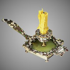 Antique French chamber Candleholder onyx bronze enamel champleve cloisonne 3