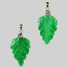 Pair of genuine Natural green Jade Jadeite carved Leaf Pendant 14k solid Gold bail