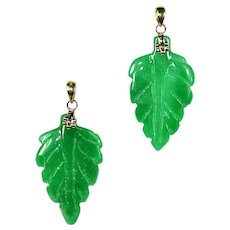 Pair of genuine Natural green Jade Jadeite carved Leaf Pendant 14k solid Gold bail