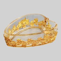 Antique 19thC French clear crystal Heart shaped Dish in bronze dore mounts