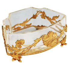 Antique French Art Nouveau clear crystal dish in gilt bronze mounts