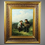 Antique 19th century oil on canvas painting by Damschroder (1825-1905)