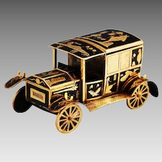 Antique metal Black enamel with gilt desk Car inkwell