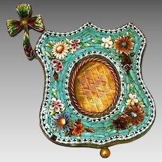 Antique Italian micro mosaic miniature picture frame
