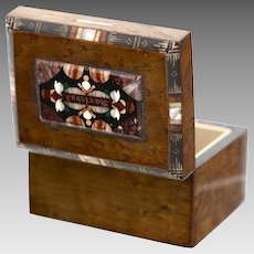Antique Germany wood hinged Box w/ pietra dura inlay souvenir from Karlsbad