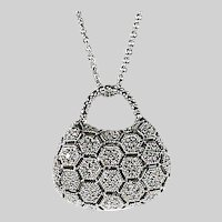 14K white gold & diamond bag shaped Pendant and Chain
