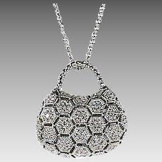 14K white gold & diamond bag shaped Pendant and Chain