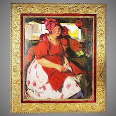 Russian Abram Arkhipov 1862-1930 Oil on artist board painting Peasant in Red
