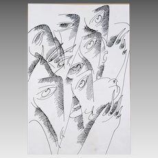 Ink pen hand drawing of dove and people faces
