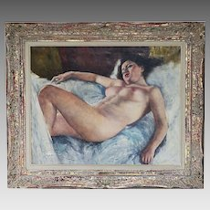 Hungarian American Fried Pal signed O/Canvas painting Sleeping Beauty
