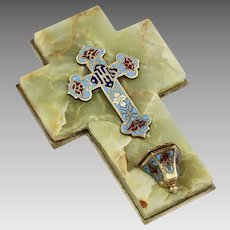 Antique French bronze champleve enamel cross mounted on onyx Holy Water Font
