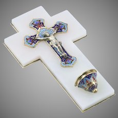 Antique French bronze champleve enamel cross crucifix white onyx Holy Water Font