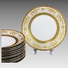 Set 12 Dessert Plates Vintage Bohemian Premium porcelain De Luxe gold encrusted
