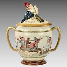 Antique Austria Geschützt ceramic lidded Punch Bowl