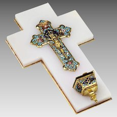 Antique French bronze champleve enamel crucifix mounted on onyx Holy Water Font