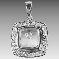 14K white gold square Pendant with floating diamond and diamond band around