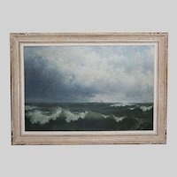 British David James 1853-1904 Antique oil on canvas board Seascape painting