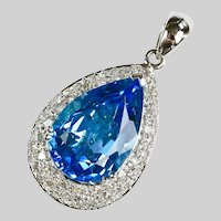 Vintage Tear Drop Blue Topaz Diamond Pendant 14K white gold
