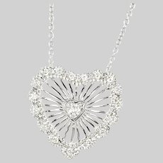 Necklace white 14K gold diamond Heart Pendant w/ chain