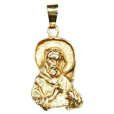Vintage 18K yellow gold Pendant Saint Nicholas of Myra Religious Charm 11.7gr