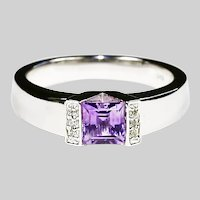 Fine 14K white gold RING Amethyst & Diamonds size 6 sizeable