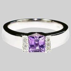 Fine 14K white gold RING Amethyst & Diamonds size 6 sizeable