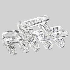 set of 12 Vintage French signed Daum clear crystal Knife Rests