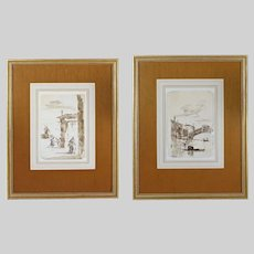 Pair After FRANCESCO GUARDI (1712–1793) Italian Two Venetian Views on the Canal