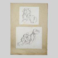 Pair of Vintage pen ink Drawings Study Men nude sketch