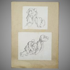 Pair of Vintage pen ink Drawings Study Men nude sketch