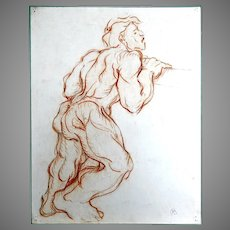 Pencil Coloured Graphite Drawing Hard Paper Study of Nude Men