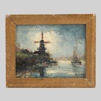 Antique oil on panel painting by Belgian artist Berghe Fritz Van Den