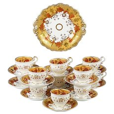 Antique 1850 Copeland Neo-Rococo dessert set serving platter 11 cups 11 saucers
