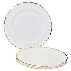 Set of 4 opaque white glass Dinner Plates Fire King Anchor Hocking Dinnerware