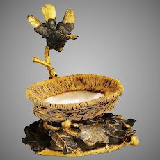 Antique French bronze and mother of pearl sculpture Bird on Nest