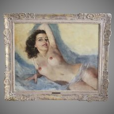 Hungarian American Artist Fried Pal Painting Reclining Nude signed o/canvas
