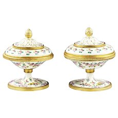 Pair of Antique French Sevres Porcelain lidded Bowls