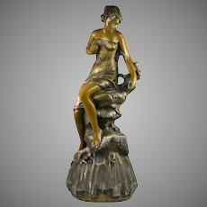 "25""H Antique late Victorian Art Nouveau chalkware MAIDEN Figurine"