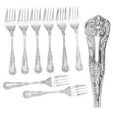 Set of 8 Salat Forks by Birks Sterling silver in Queens pattern