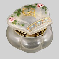 Antique clear glass Trinket or jewelry hinged Box hand painted flowers