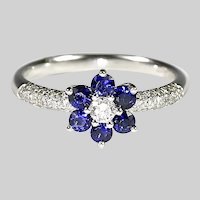 size 7 Vintage 14K white gold Ring with blue sapphire and diamond